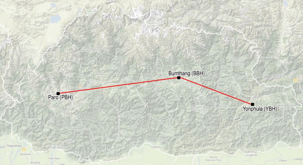 Bhutan Domestic Flight Route Map