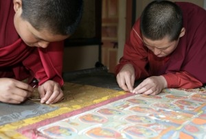 Bhutanese nuns making Thangka