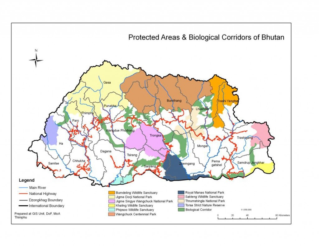 Map of Protected Areas and Biological Corridors of Bhutan showing RMNP (Source: DoFPS 2010)