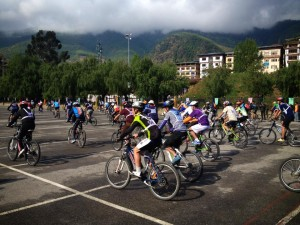 The annual Thimphu-Paro-Thimphu bike race taking off from Changlimithang