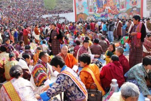 PM Tshering Tobgay having a chat with the people during a festival