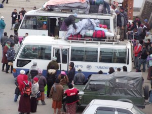A scene at the Thimphu Bus Terminal