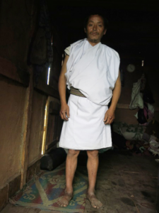 The traditional attire of a Monpa