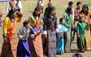 Bhutanese Girls in their National attire (Kira)