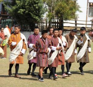 A group of Bhutanese boys in Gho