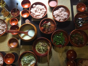 A typical Bhutanese meal