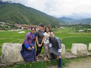 Trina, Poma, Kat & Nel, above the Tashichodzong in Thimphu