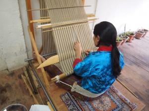 A Bhutanese weaver