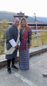 Ms. Zheng in a traditional Bhutanese attire.