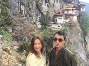 Suzana Arsic with Phuntsho at the Tiger's Nest Monastery
