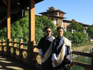 Ted & Razlan dressed in Gho at the Punakha Dzong