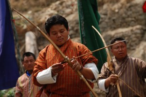 Archery is Bhutan's National sport. On any given holiday, in any given town or village in Bhutan, you will find an archery match in progress.