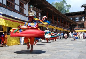 A mask dance underway at the Gasa Tshechu. Mask dances have their own significance in Bhutanese culture and are a major tourist draw.